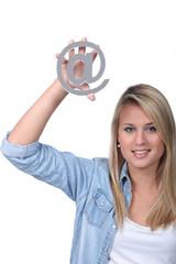 girl holding @