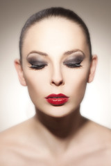 Beautiful woman face with perfect Make Up