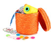 Orange wicker basket with accessories for needlework isolated
