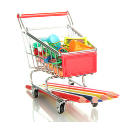 trolley with school equipment isolated on white