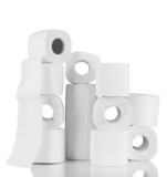 Rolls of toilet paper isolated on white