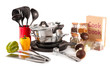 composition of kitchen tools,spices and vegetables isolated