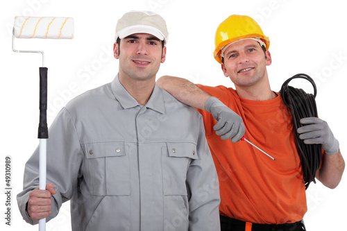 Tradesmen posing for the camera