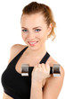 Young woman doing fitness exercises with dumbbell isolated