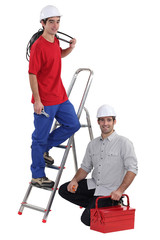 Electrician training young worker