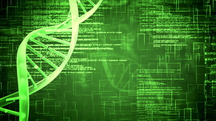 Green DNA Helix with flying text