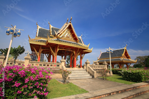 Beautiful shrines against blue sky at Chalerm Prakiat park
