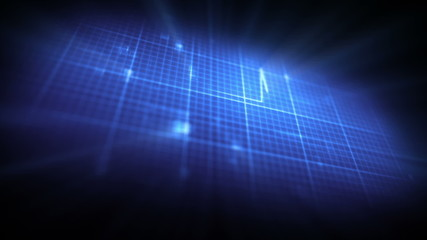 Blue ECG on digital background
