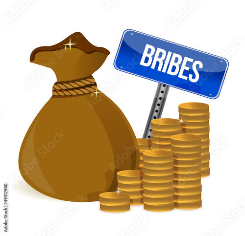 Bribes Gold coins and money bag