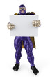 super hero purple and silver holding a  board full body