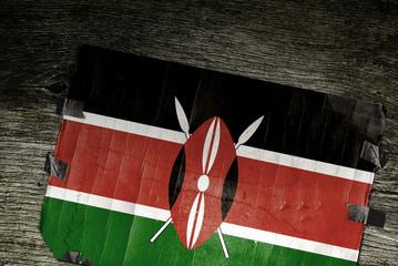 FLAG OF KENYA ON WOOD