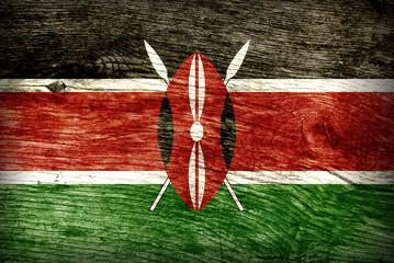 KENYA FLAG ON WOOD