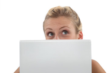 Closeup of a woman with a laptop