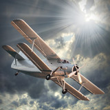 Fototapeta podróż - dwupłatowiec - Samolot