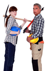 Male and female manual workers