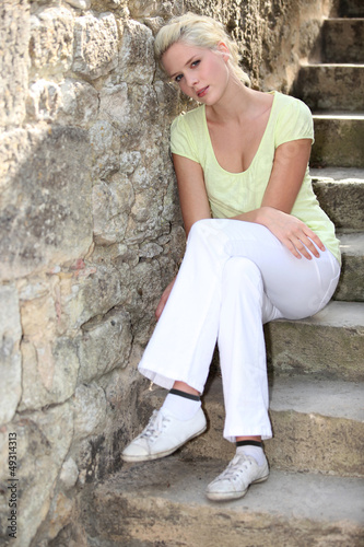 sitting on steps