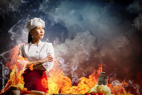 Asian female cook in anger