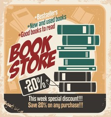 Retro bookstore poster design