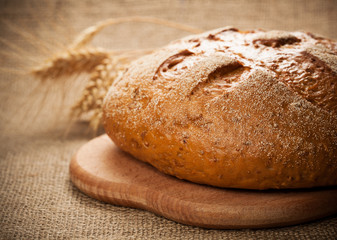 rye bread on burlap background