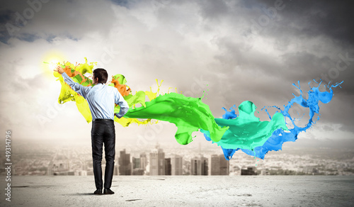 Man painting splashes