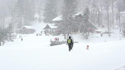 Schneespaziergang mit Hund