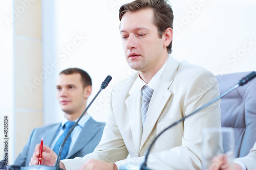 Two businessmen at meeting