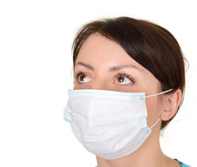 beautiful woman wearing surgical mask isolated on white backgrou