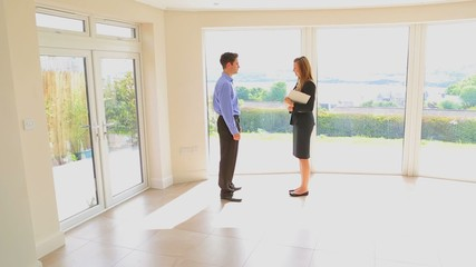 Estate agent and man shaking hands