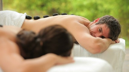 Couple relaxing together in a spa