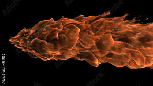 Large fire ball moving in slowmotion horizontally on black