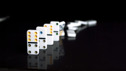 Domino falling in the slowmotion