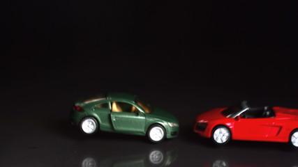 Toy cars crashing