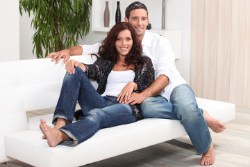 Couple relaxing on a soda