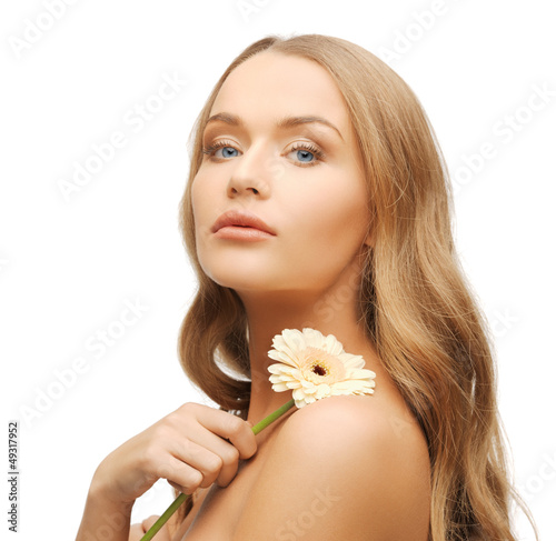 lovely woman with gerbera flower