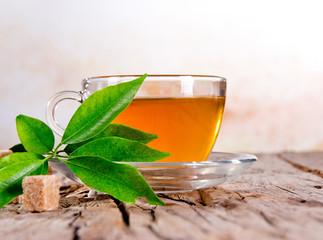 Cup of green tea on wood board