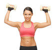 woman with dumbbells