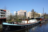 Boata in a canal of the city of Groningen(The Netherlands)