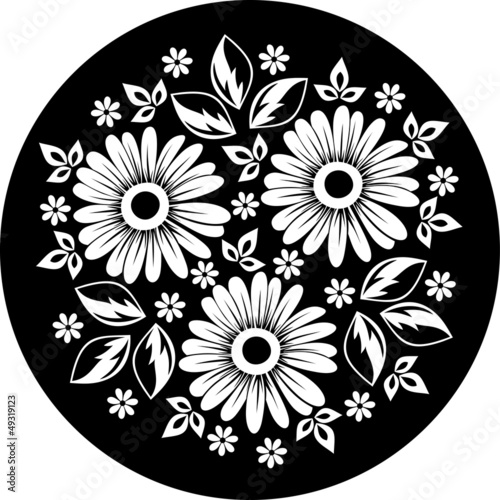White flower ornament on a black background. Vector illustration