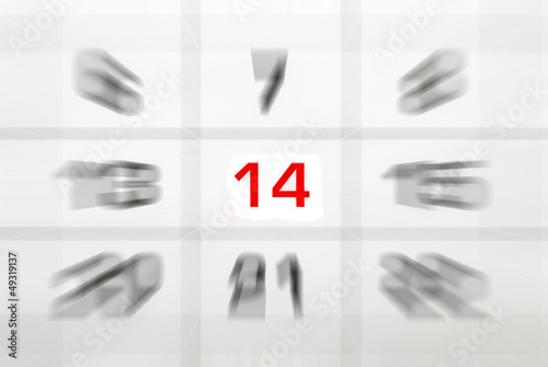 calendar with red fourteen number