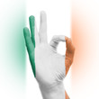 hand OK sign with Irish flag