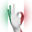 hand OK sign with Italian flag