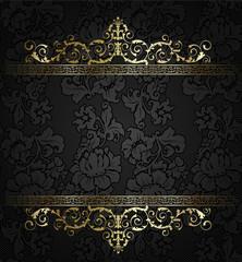 Seamless damask wallpaper-  golden frame element