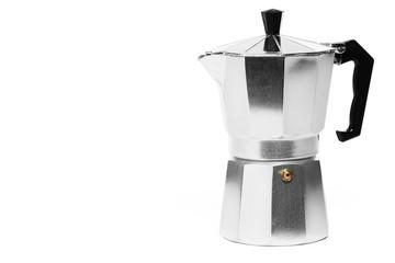 espressokocher auf weissem hintergrund