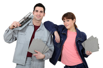 Couple with tile cutting equipment