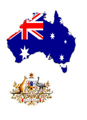 The map, flag and the arms of Australia