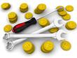 Рабочие инструменты среди монет с символами российского рубля