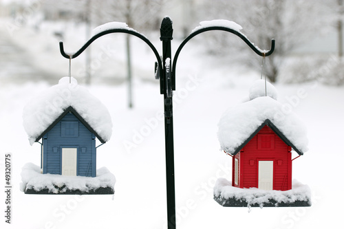 Red and Blue Bird houses