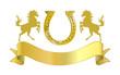 Goldenes Reiterabzeichen mit Hufeiesen und Schriftband