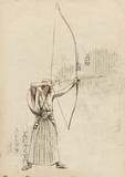 Kyudo - modern Japanese martial art. / Hand drawn illustration.