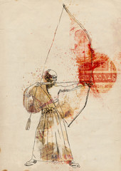 Kyudo - modern Japanese martial art. / Hand drawn illustration.